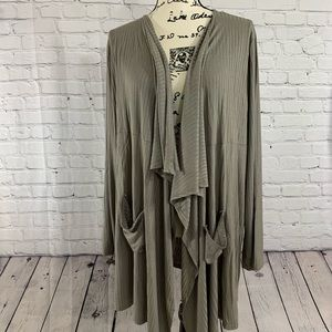 Cozy Casual Large Brown Stripe Cardigan - NWT